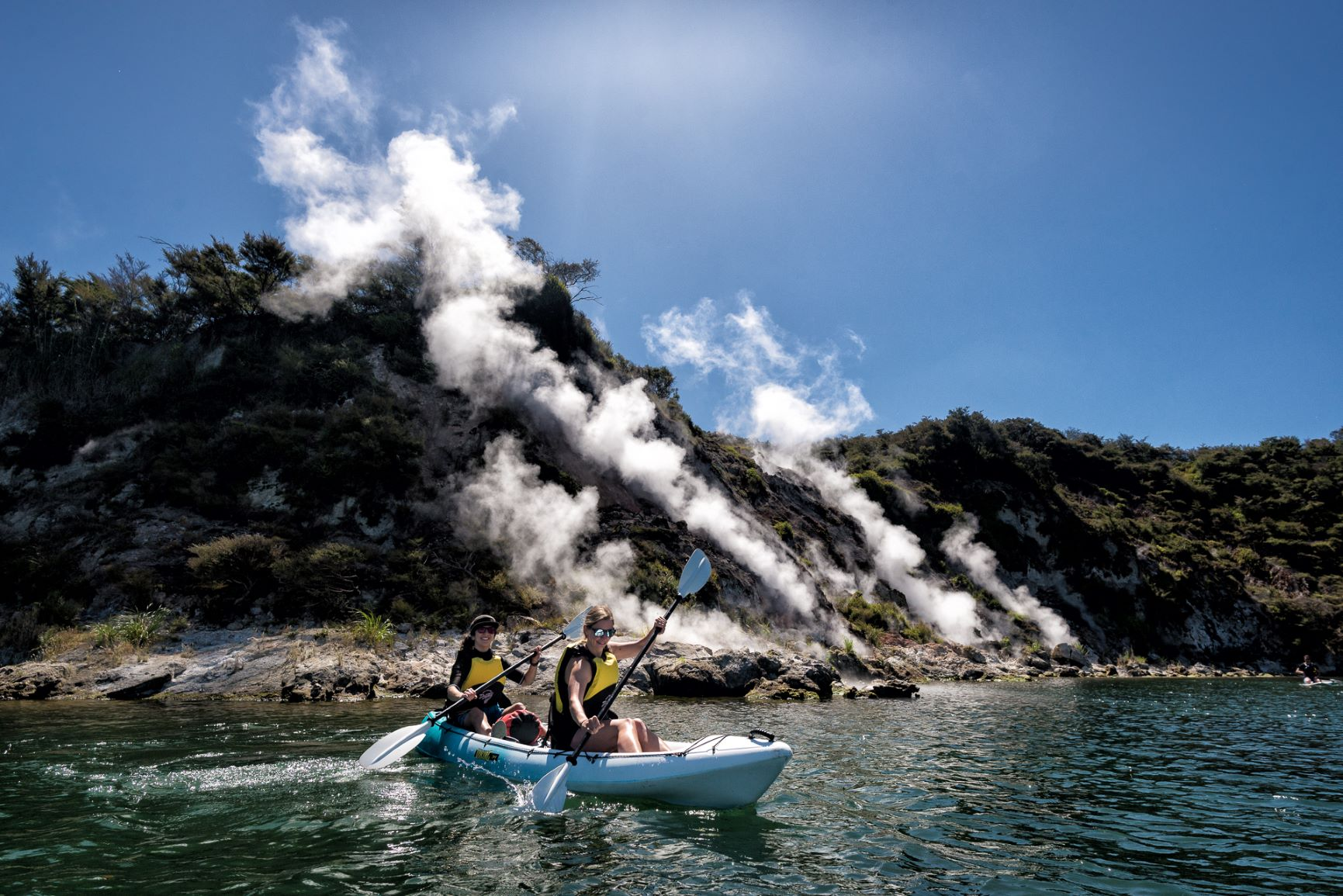 Steaming Cliffs Geothermal Kayak Tour